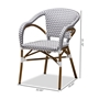 Baxton Studio Eliane Classic French Indoor and Outdoor Grey and White Bamboo Style Stackable Bistro Dining Chair Set of 2 - BSOWA-4267-Grey/White-DC