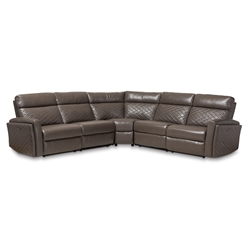 Baxton Studio Alvar Modern and Contemporary Grey Faux Leather Upholstered 3-Piece Power Recliner Sectional Sofa with 2 Reclining Seats and USB Ports Affordable modern furniture in Chicago, classic living room furniture, modern sofa, cheap reclining sofa