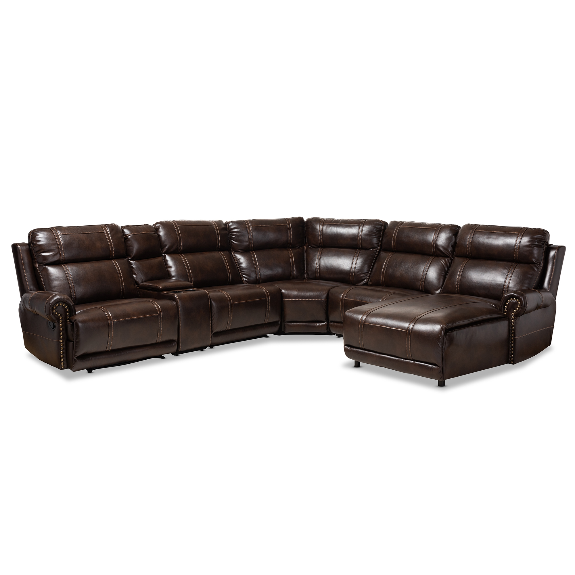 Baxton Studio Dacio Modern And Contemporary Brown Faux Leather Upholstered  6 Piece Sectional Recliner Sofa