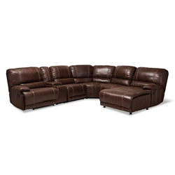 Baxton Studio Salomo Modern and Contemporary Brown Faux Leather Upholstered 6-Piece Sectional Recliner Sofa with 3 Reclining Seats Affordable modern furniture in Chicago, classic living room furniture, modern sofa, cheap reclining sofa