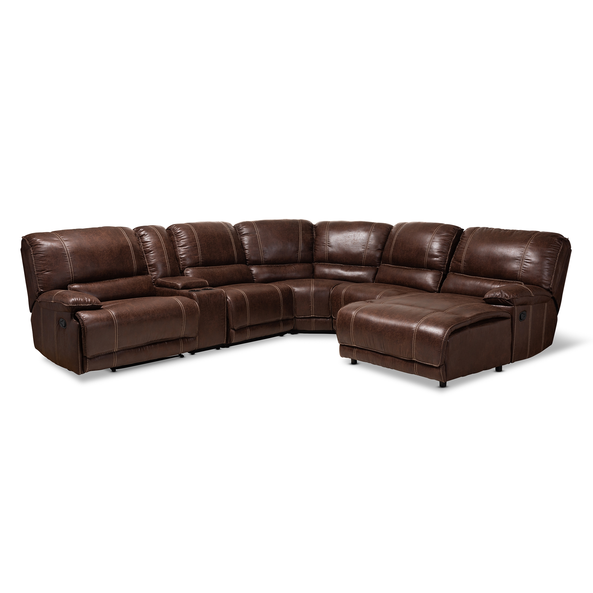 Baxton Studio Salomo Modern And Contemporary Brown Faux Leather Upholstered  6 Piece Sectional Recliner Sofa