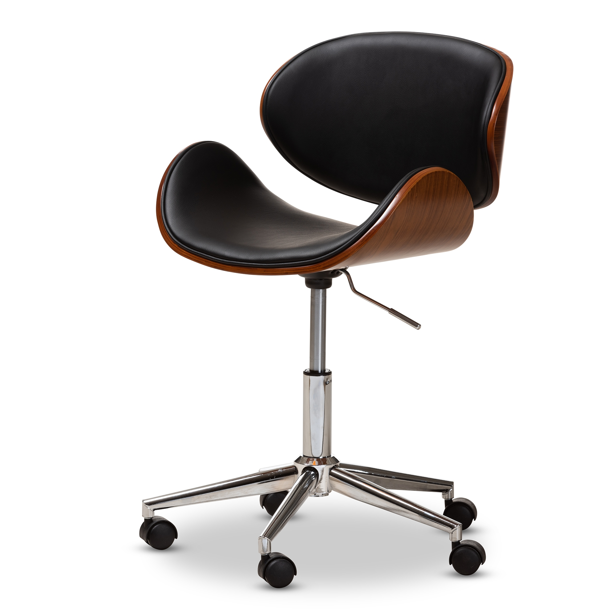 Baxton Studio Ambrosio Modern And Contemporary Black Faux Leather  Upholstered Chrome Finished Metal Adjustable Swivel