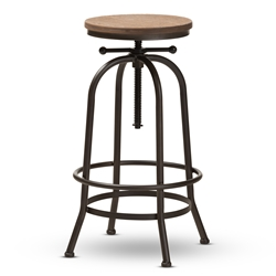 Baxton Studio Aline Vintage Rustic Industrial Style Wood and Rust-Finished Steel Adjustable Swivel Bar Stool Affordable modern furniture in Chicago, classic bar furniture, modern stools, cheap bar stools