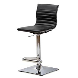 Baxton Studio Vanni Modern and Contemporary Black Faux Leather Upholstered Chrome-Finished Metal Adjustable Swivel Bar Stool Affordable modern furniture in Chicago, classic bar furniture, modern stools, cheap bar stools