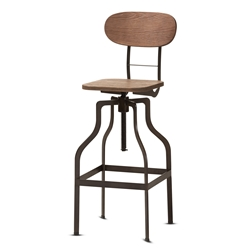 Baxton Studio Varek Vintage Rustic Industrial Style Wood and Rust-Finished Steel Adjustable Swivel Bar Stool Affordable modern furniture in Chicago, classic bar furniture, modern stools, cheap bar stools
