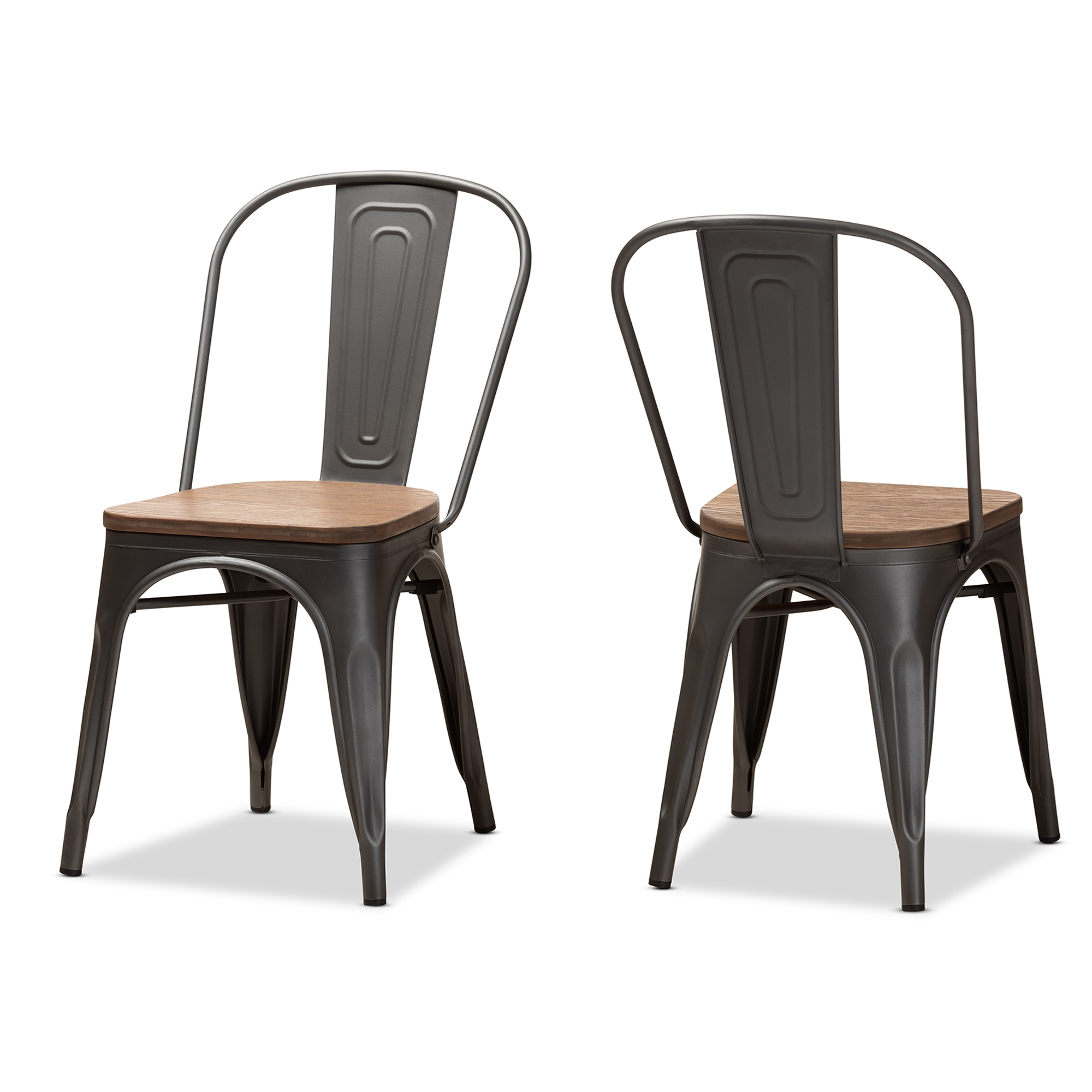 5e8d090179 Baxton Studio Henri Vintage Rustic Industrial Style Tolix-Inspired Bamboo  and Gun Metal-Finished Steel Stackable Dining Chair Set of 2