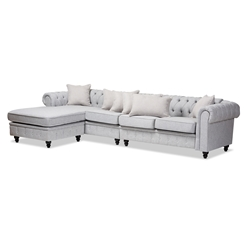 Baxton Studio Luisa Traditional Grey Fabric Upholstered Chesterfield Reversible Sectional Sofa Affordable modern furniture in Chicago, classic bathroom furniture, modern sectional sofas, cheap sectional sofas