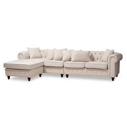 Baxton Studio Luisa Traditional Beige Fabric Upholstered Chesterfield Reversible Sectional Sofa Affordable modern furniture in Chicago, classic bathroom furniture, modern sectional sofas, cheap sectional sofas