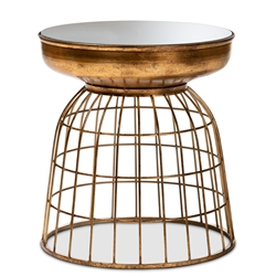 Baxton Studio Andreia Modern and Contemporary Antique Gold Finished Metal and Mirrored Glass Cage Accent Table Affordable modern furniture in Chicago, classic kitchen furniture, modern end tables, cheap end tables