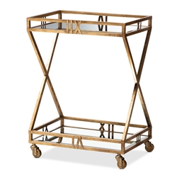 Baxton Studio Laurent Modern and Contemporary Antique Gold Finished 2-Tier Mobile Bar Cart Affordable modern furniture in Chicago, classic living room furniture, modern kitchen carts, cheap kitchen carts