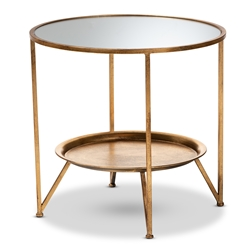 Baxton Studio Tamsin Modern and Contemporary Antique Gold Finished Metal and Mirrored Glass Accent Table with Tray Shelf Affordable modern furniture in Chicago, classic kitchen furniture, modern end tables, cheap end tables