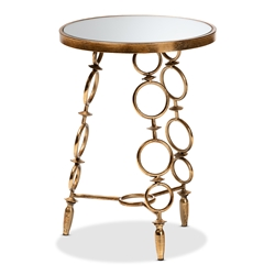 Baxton Studio Inaya Modern and Contemporary Antique Gold Finished Metal and Glass Accent Table Affordable modern furniture in Chicago, classic kitchen furniture, modern end tables, cheap end tables