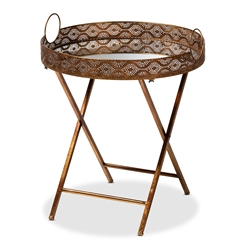 Baxton Studio Lamia Vintage Style Antique Gold Finished Foldable Metal and Mirrored Glass Accent Tray Table Affordable modern furniture in Chicago, classic kitchen furniture, modern end tables, cheap end tables