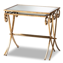 Baxton Studio Ambre Modern and Contemporary Antique Gold Finished Metal and Mirrored Glass 2-Piece Stackable Accent Tray Table Set Affordable modern furniture in Chicago, classic kitchen furniture, modern end tables, cheap end tables