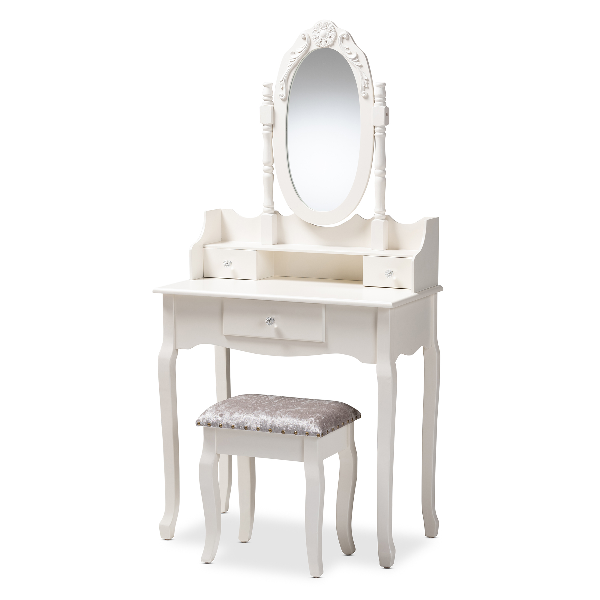 Baxton Studio Veronique Traditional French Provincial White Finished Wood  2 Piece Vanity Table With Mirror And Ottoman