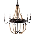 Baxton Studio Cassia Vintage Industrial Antique Style Hemp and Dark Bronze Metal 6 Light Chandelier Affordable modern furniture in Chicago, classic living room furniture, modern ceiling lamps, cheap ceiling lamps