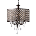 Baxton Studio Gitana Modern and Contemporary Dark Bronze Metal and Crystal 4-Light Drum Pendant Light Chandelier Affordable modern furniture in Chicago, classic living room furniture, modern ceiling lamps, cheap ceiling lamps
