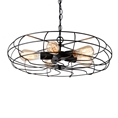 Baxton Studio Jisa Vintage Industrial Black Metal 5-Light Cage Fan Pendant Light Affordable modern furniture in Chicago, classic living room furniture, modern ceiling lamps, cheap ceiling lamps