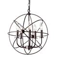 Baxton Studio Nerea Vintage Industrial Dark Bronze Metal 5-Light Orb Cage Chandelier Affordable modern furniture in Chicago, classic living room furniture, modern ceiling lamps, cheap ceiling lamps