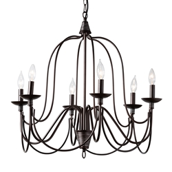 Baxton Studio Palmira Transitional Dark Bronze Metal 6-Light Chandelier Affordable modern furniture in Chicago, classic living room furniture, modern ceiling lamps, cheap ceiling lamps