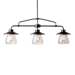 Baxton Studio Raissa Vintage Industrial Dark Bronze Metal and Glass 3-Light Kitchen Island Pendant Light Affordable modern furniture in Chicago, classic living room furniture, modern ceiling lamps, cheap ceiling lamps