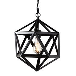 Baxton Studio Ginessa Modern and Contemporary Black Metal Geometric Pendant Light Affordable modern furniture in Chicago, classic living room furniture, modern ceiling lamps, cheap ceiling lamps