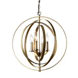 Baxton Studio Roisin Modern and Contemporary Antique Brass Metal 4-Light Orb Chandelier Affordable modern furniture in Chicago, classic living room furniture, modern ceiling lamps, cheap ceiling lamps