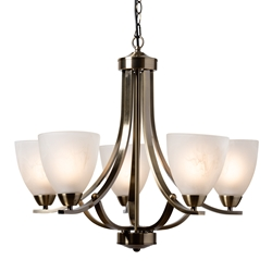 Baxton Studio Ciaran Modern and Contemporary Antique Brass Metal and Frosted Glass 5-Light Chandelier Affordable modern furniture in Chicago, classic living room furniture, modern ceiling lamps, cheap ceiling lamps