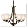 Baxton Studio Ciaran Modern and Contemporary Antique Brass Metal and Frosted Glass 5-Light Chandelier - BSOEVEN3898
