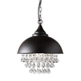 Baxton Studio Viona Modern and Contemporary Rust Metal and Crystal Pendant Light - BSOEVEN4340