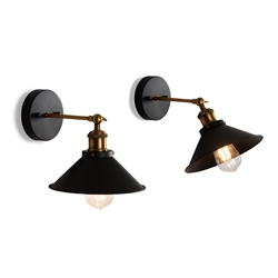 Baxton Studio Faas Vintage Farmhouse 2-Piece Black Metal Wall Sconce Lamp Set Affordable modern furniture in Chicago, classic living room furniture, modern wall lamps, cheap wall lamps