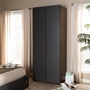Baxton Studio Rikke Modern and Contemporary Two-Tone Gray and Walnut Finished Wood 7-Shelf Wardrobe Storage Cabinet - BSOBR3WR307-Columbia/Dark Grey-Cabinet