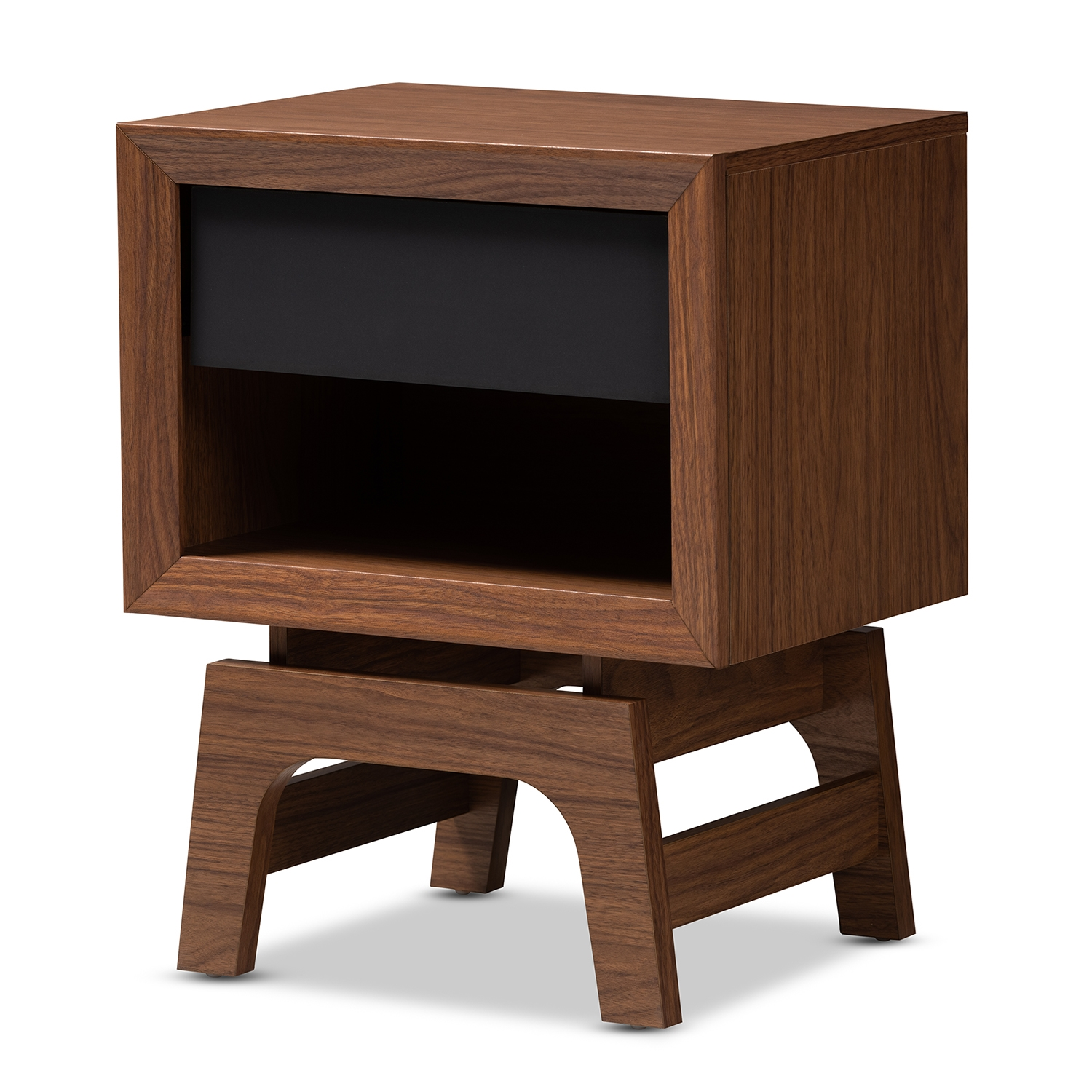 Baxton Studio Svante Mid Century Modern Walnut Brown And Dark Gray Finished Wood 1 Drawer Nightstand