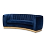 Baxton Studio Milena Glam Royal Blue Velvet Fabric Upholstered Gold-Finished Sofa - BSOTSF5504A-Dark Royal Blue/Gold-SF