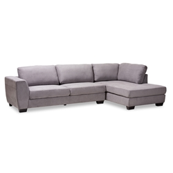 Baxton Studio Petra Modern and Contemporary Gray Fabric Upholstered Right Facing Sectional Sofa Affordable modern furniture in Chicago, classic kitchen furniture, modern end tables, cheap end tables