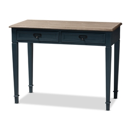 Baxton Studio Dauphine French Provincial Spruce Blue Accent Writing Desk Affordable modern furniture in Chicago, classic home office furniture, modern desk, cheap desks