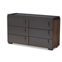 Baxton Studio Rikke Modern and Contemporary Two-Tone Gray and Walnut Finished Wood 6-Drawer Dresser - BSOBR3COD3061-Columbia/Dark Grey-Dresser