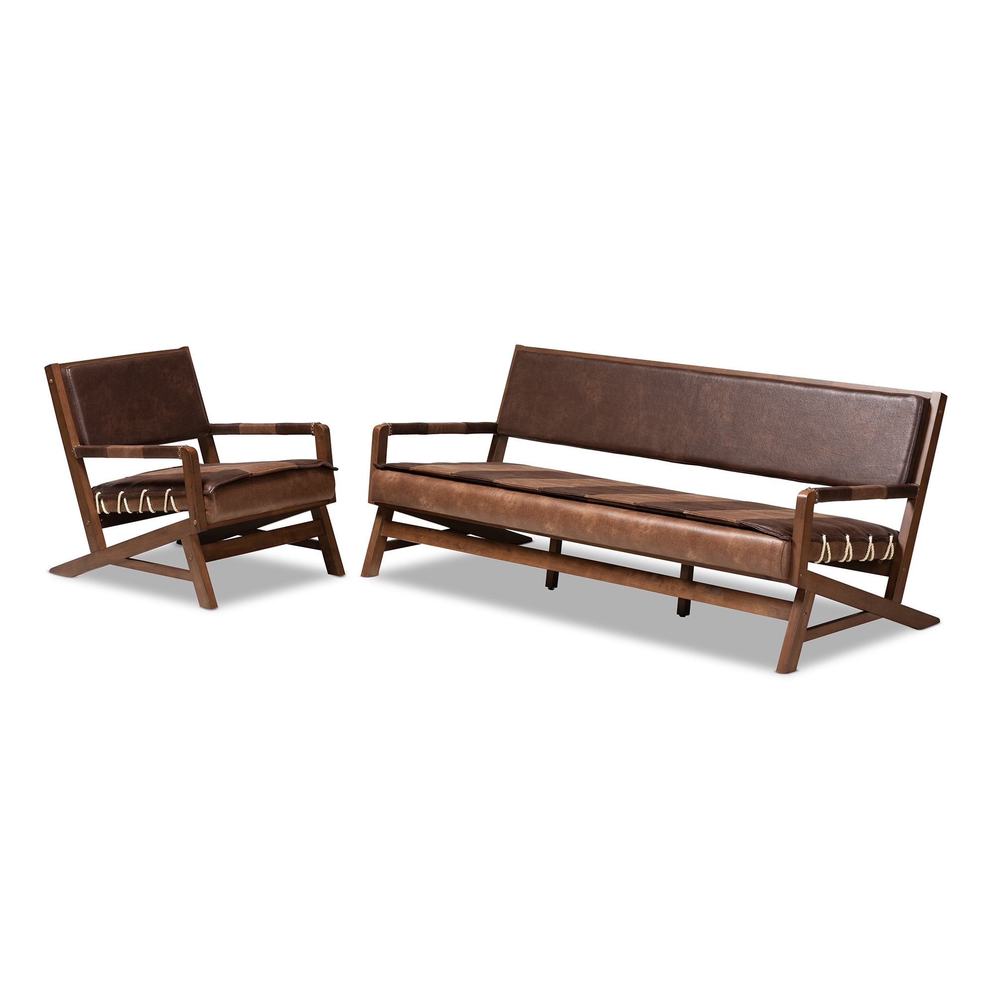 Faux Leather Living Room Set | Baxton Studio Rovelyn Rustic Brown Faux Leather Upholstered Walnut