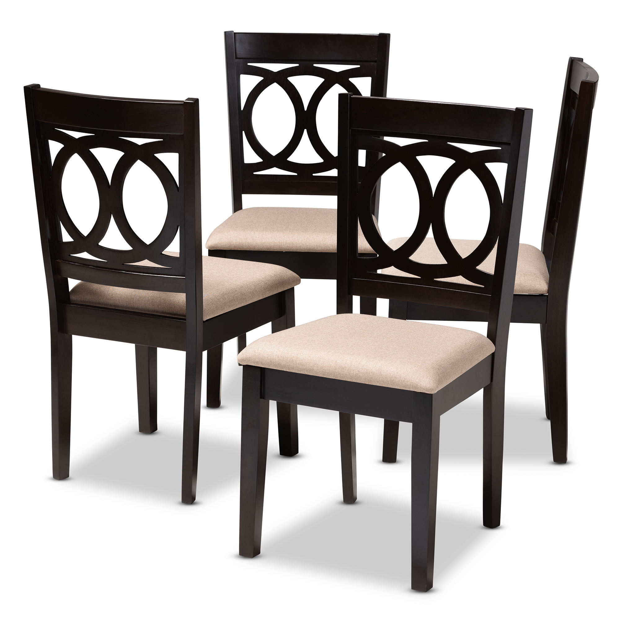 Baxton Studio Lenoir Modern And Contemporary Sand Fabric Upholstered Espresso Brown Finished Wood Dining Chair Set