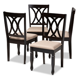 Baxton Studio Reneau Modern And Contemporary Sand Fabric Upholstered Espresso Brown Finished Wood Dining Chair Set