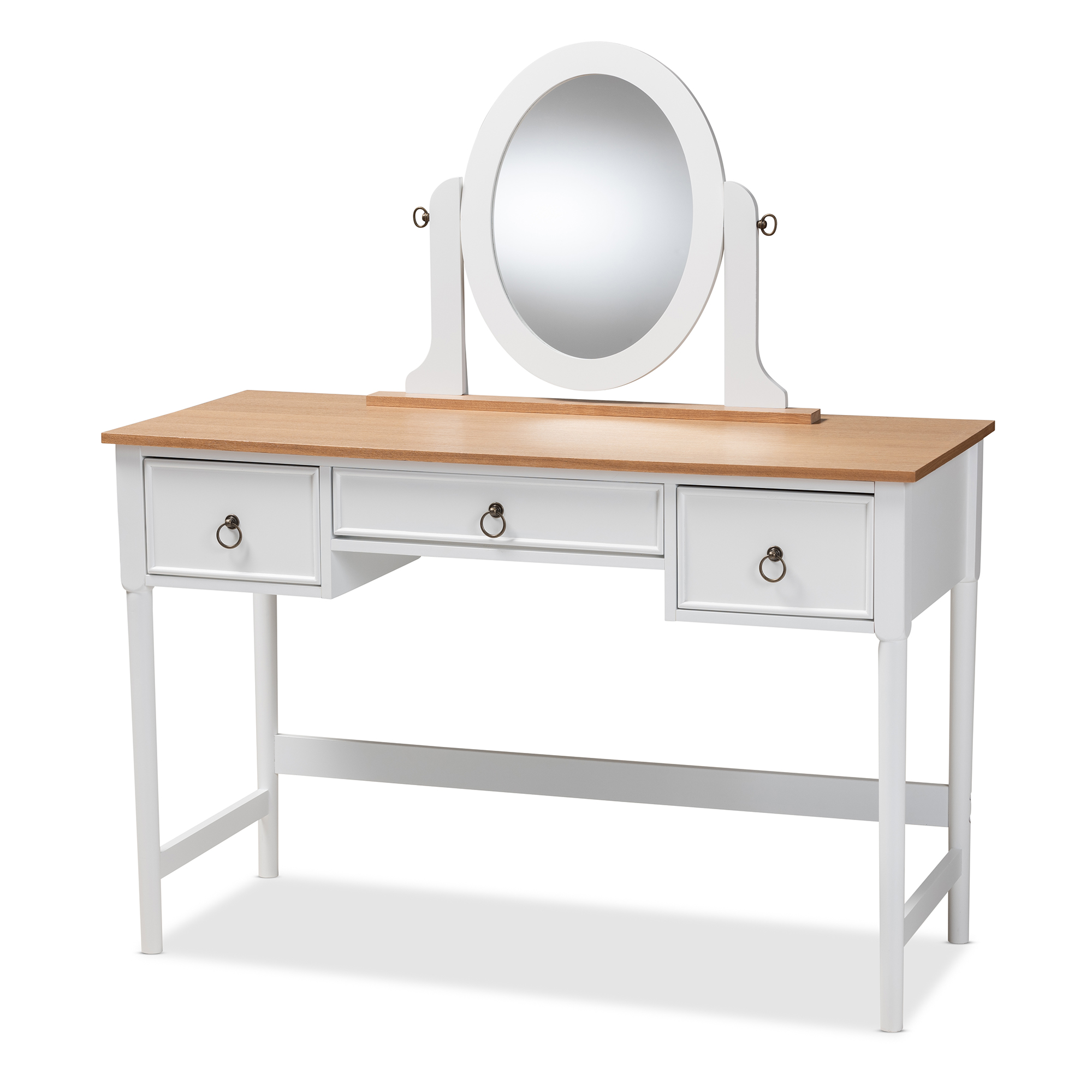 Baxton Studio Sylvie Classic And Traditional White 3 Drawer Wood Vanity  Table With Mirror Affordable