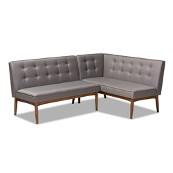 Baxton Studio Arvid Mid-Century Modern Gray Fabric Upholstered 2-Piece Wood Dining Corner Sofa Bench Affordable modern furniture in Chicago, classic dining room furniture, modern bench, cheap bench