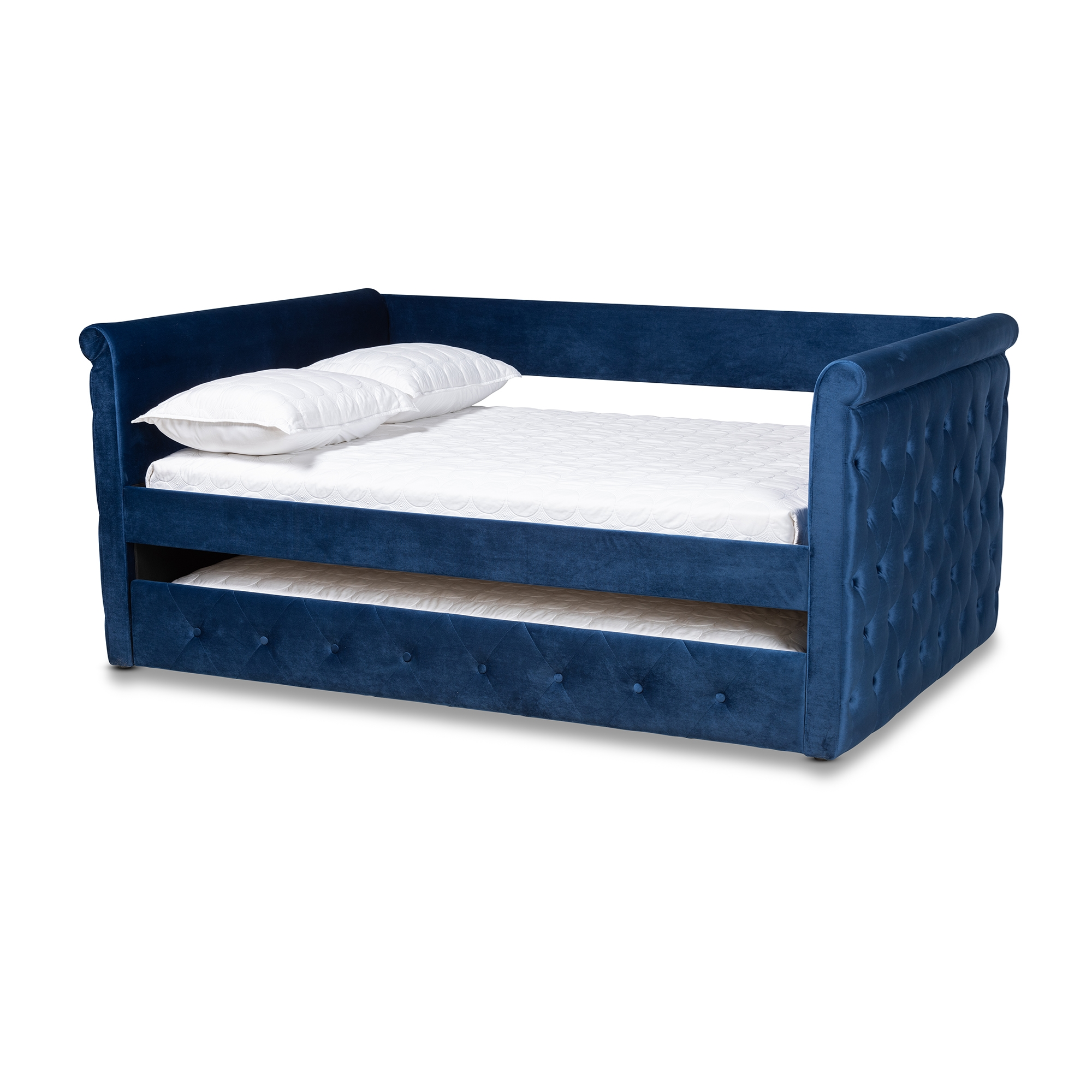 Picture of: Baxton Studio Amaya Modern And Contemporary Navy Blue Velvet Fabric Upholstered Queen Size Daybed With Trundle