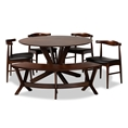 Baxton Studio Berlin Mid-Century Modern Black Faux Leather Upholstered Walnut Finished 6-Piece Wood Dining Set Affordable modern furniture in Chicago, classic dining room furniture, modern dining sets, cheap dining sets