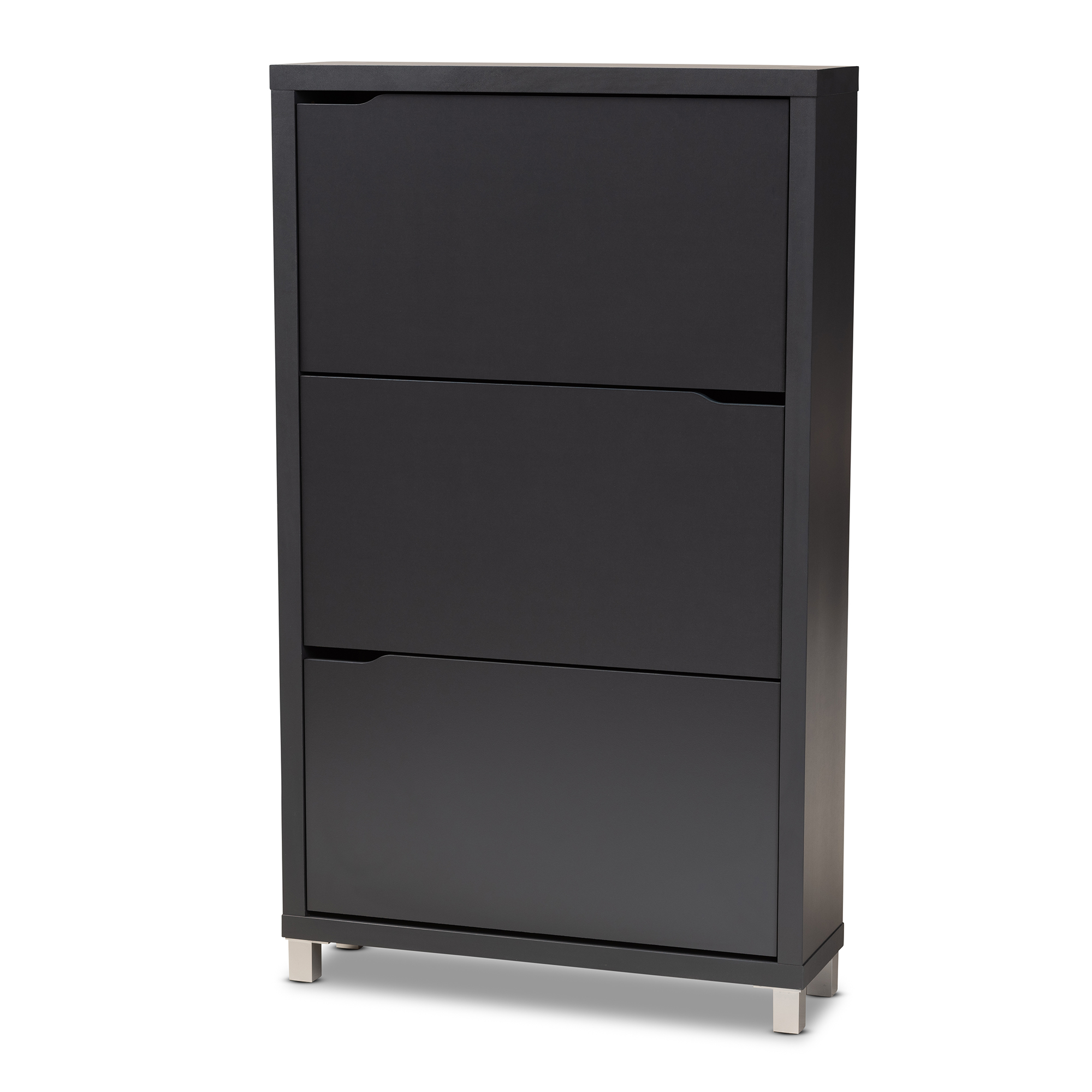 Baxton Studio Simms Modern And Contemporary Dark Grey Finished Wood Shoe Storage Cabinet With 6 Fold Out Racks