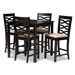Baxton Studio Lanier Modern and Contemporary Sand Fabric Upholstered Espresso Brown Finished 5-Piece Wood Pub Set Affordable modern furniture in Chicago, classic pub furniture, modern pub set, cheap pub set