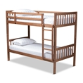 Baxton Studio Jude Modern and Contemporary Walnut Brown Finished Wood Twin Size Bunk Bed Affordable modern furniture in Chicago, classic bedroom furniture, modern twin size, cheap twin size