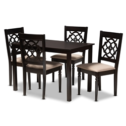 Baxton Studio Renaud Modern and Contemporary Sand Fabric Upholstered Espresso Brown Finished 5-Piece Wood Dining Set Affordable modern furniture in Chicago, classic dining room furniture, modern dining set, cheap dining set