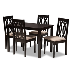 Baxton Studio Cherese Modern and Contemporary Sand Fabric Upholstered Espresso Brown Finished 5-Piece Wood Dining Set Affordable modern furniture in Chicago, classic dining room furniture, modern dining set, cheap dining set