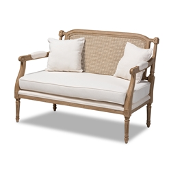 Baxton Studio Clemence French Provincial Ivory Fabric Upholstered Whitewashed Wood Loveseat
